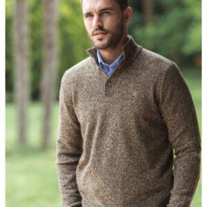 Pull à col boutonné en laine mélangée.pul1901a18300sb-0146_1_1