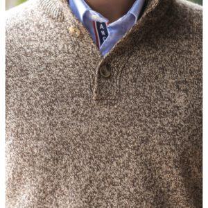 Pull à col boutonné en laine mélangée.pul1901a18300sb-0146_4_1